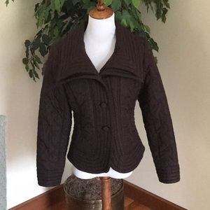 Boutique, beautiful chocolate brown quilted jacket